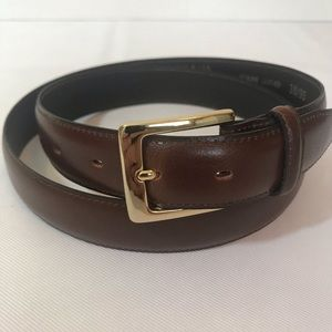 Men's Brown Leather Belt With Gold Buckle Size 38